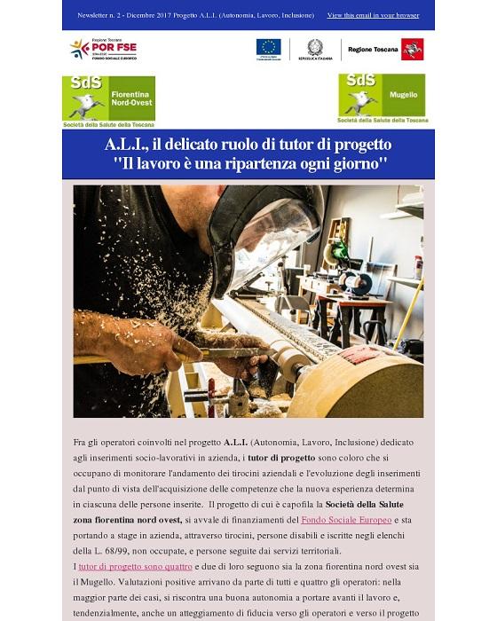 Il primo numero della Newsletter on line dedicata al progetto A.L.I. (Autonomia, Lavoro, Inclusione)